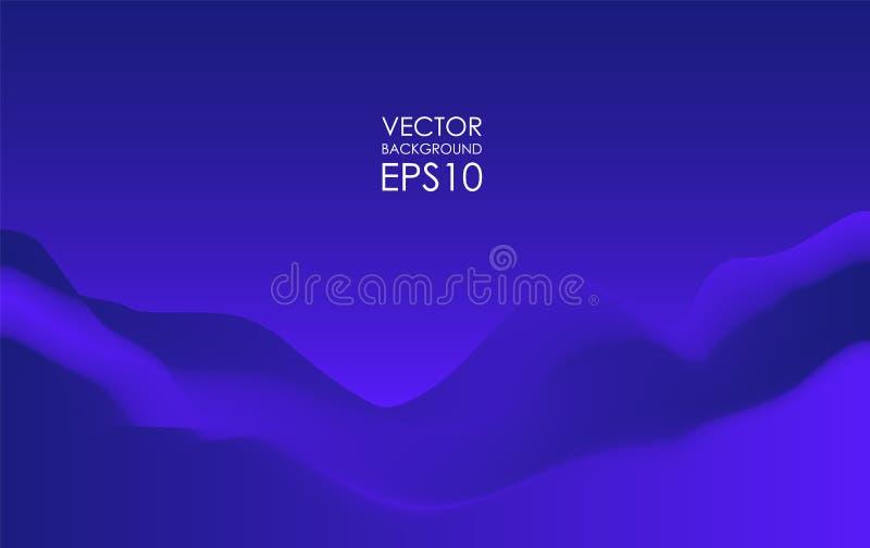 Vectorillustratie: Abstracte dynamische golvende Achtergrond Het blauwe Malplaatje van de Dekking royalty-vrije illustratie