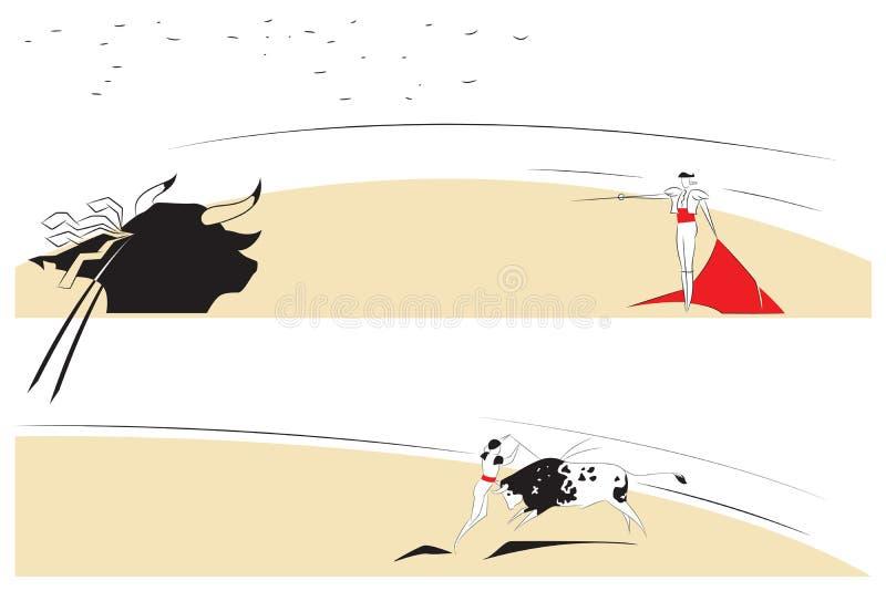 Vectorillustratie - Abstracte schilderijen op het thema van stierenvechten stock illustratie