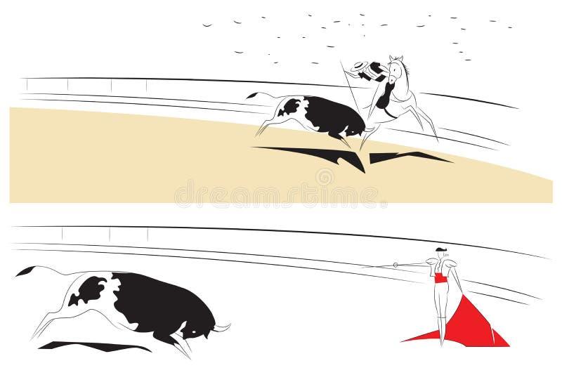 Vectorillustratie - Abstracte schilderijen op het thema van stierenvechten vector illustratie