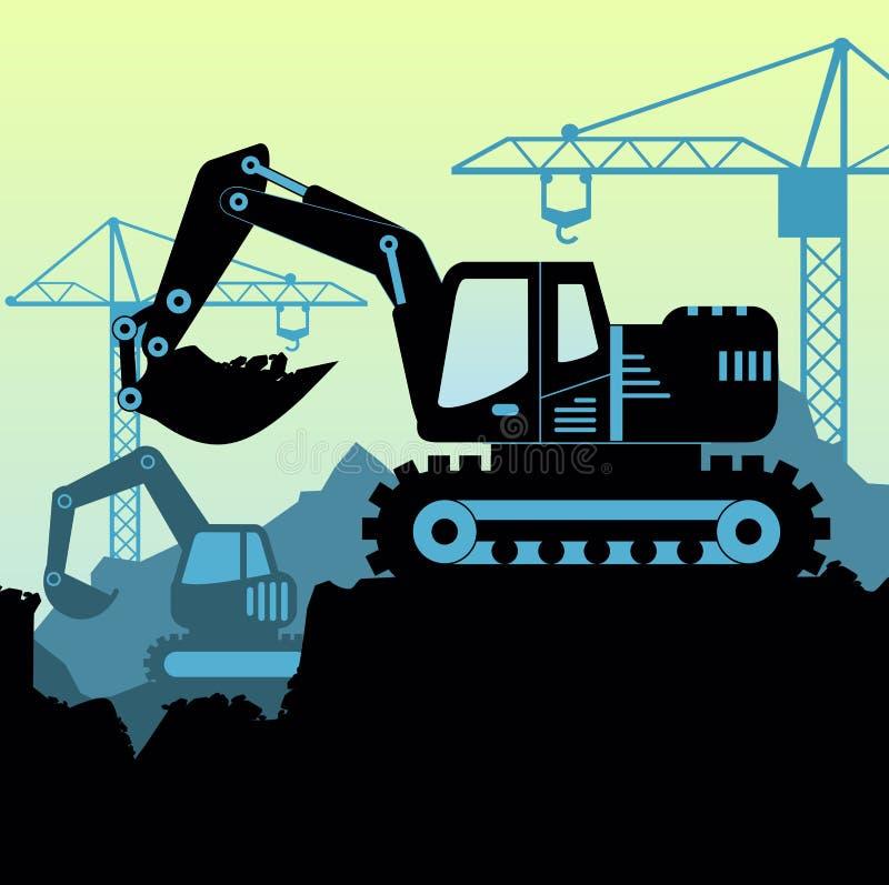 Vectorillustratie als achtergrond van van de de grondaarde van de lader voor graafmachinestractor de gravende industriële bouwwer royalty-vrije illustratie