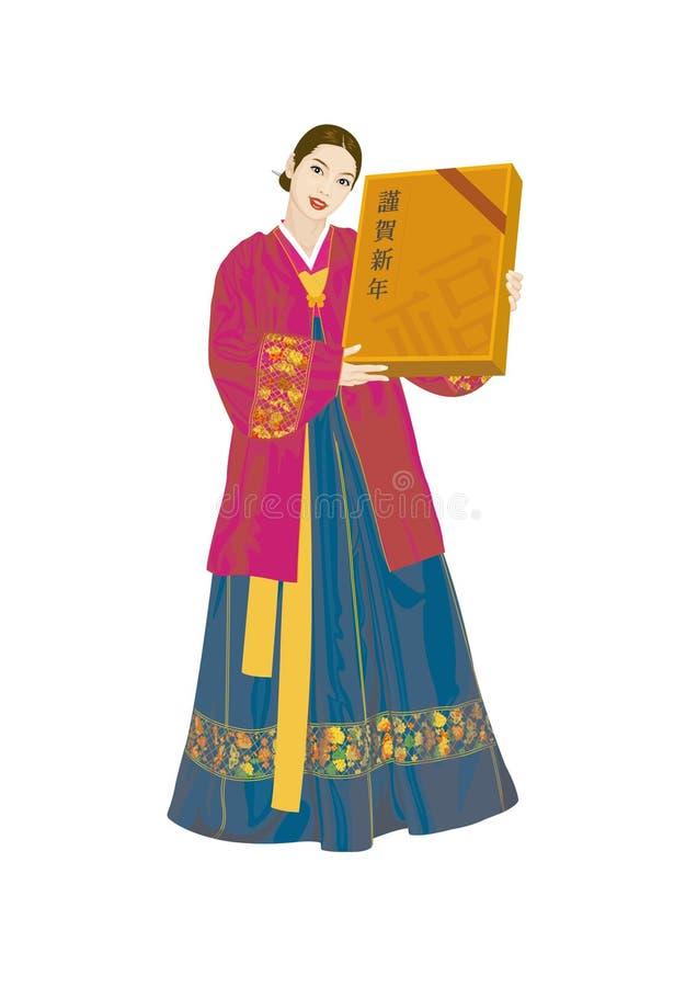 Vectorillustratie: Aziatische vrouwen die Koreaanse kostuums, deel drie dragen vector illustratie