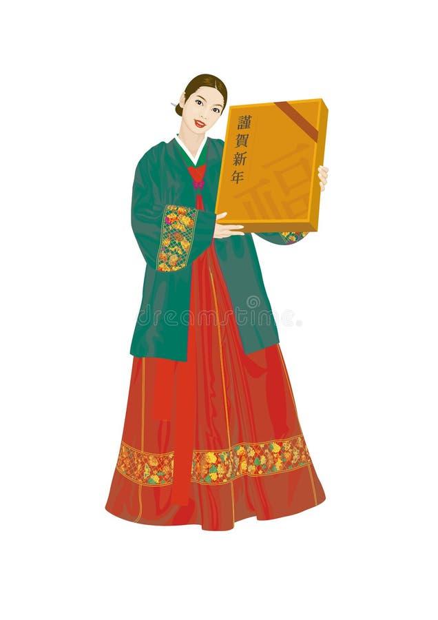 Vectorillustratie: Aziatische vrouwen die Koreaanse kostuums, deel twee dragen royalty-vrije illustratie
