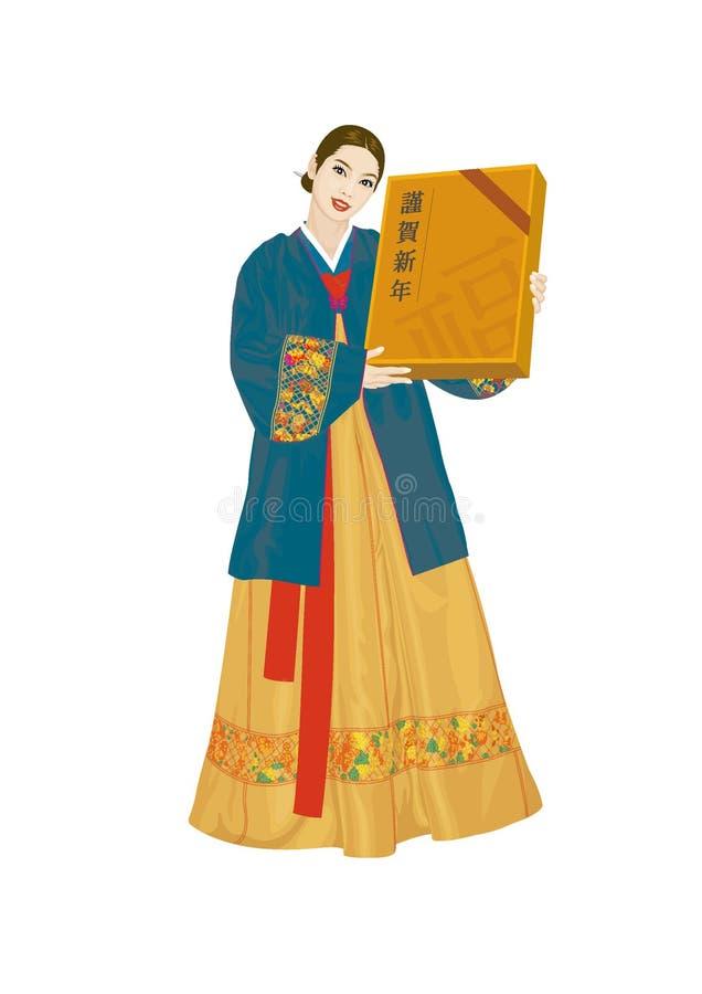 Vectorillustratie: Aziatische vrouwen die Koreaanse kostuums dragen royalty-vrije illustratie