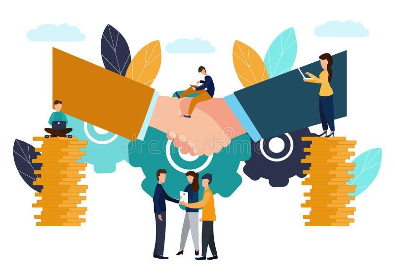 Vectorillustratie, bedrijfsconcept die, overeenkomst van de partijen, vennootschapconcept, handdruk, documenten ondertekenen stock illustratie