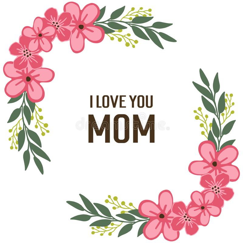 Vectorillustratie beste mamma ooit met roze de bloemkader van de patroonkunst royalty-vrije illustratie