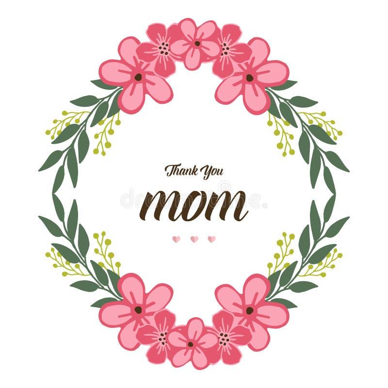 Vectorillustratie beste mamma ooit met roze de bloemkader van de patroonkunst stock illustratie