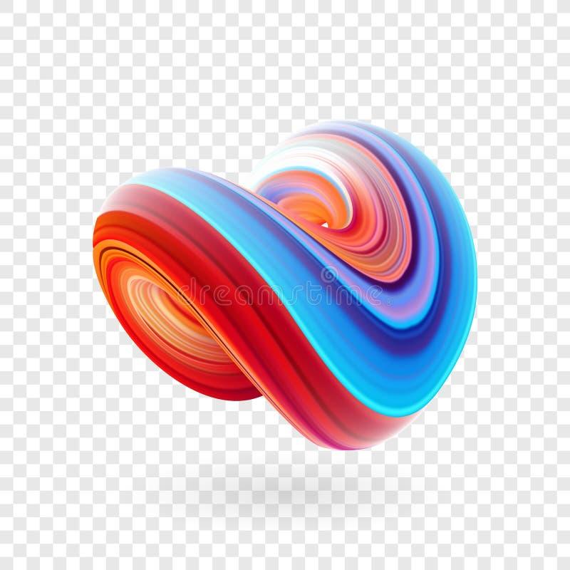 Vectorillustratie: 3D Kleurrijke samenvatting verdraaide fluidevorm In vloeibaar ontwerp stock illustratie