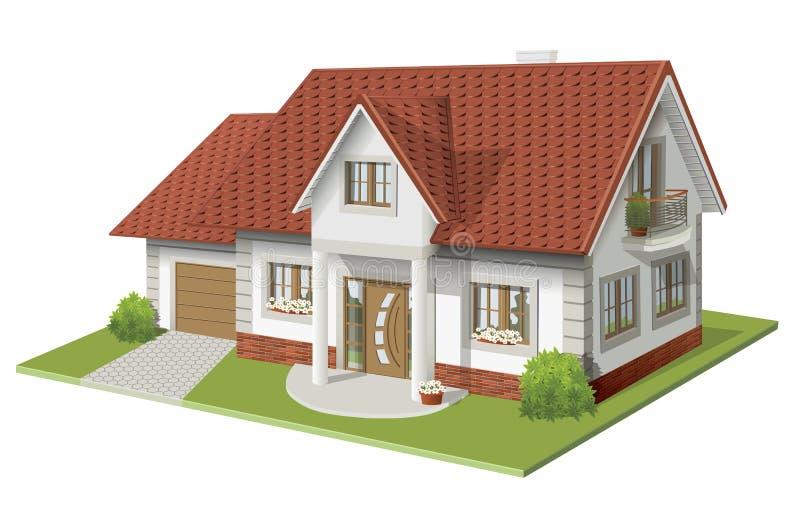 Vectorillustratie 3d van klassiek huis vector illustratie