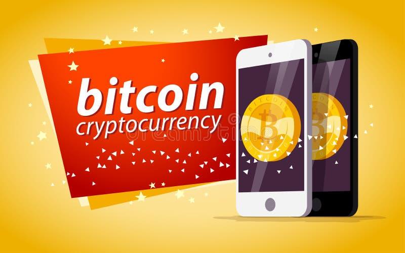 Vectorillustratie die met smartphone gouden muntstuk met bitcoinembleem hebben op het zijn scherm op gele achtergrond stock illustratie