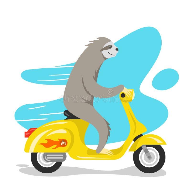 Vectorillustratie die van gelukkige leuke luiaard op autoped berijden vector illustratie