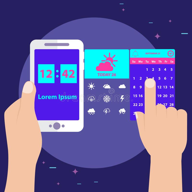 Vectorillustratie die van handen mobiel met tijd en datum houden royalty-vrije illustratie