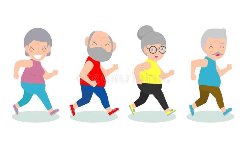 Vectorillustratie die van hoger paar in een park lopen oude mens en oude damelooppas hogere agent, gymnastiek of openlucht gezond stock illustratie
