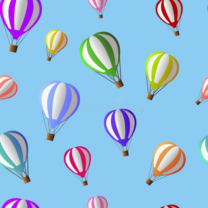 Vectorillustratie die van kleurrijke luchtimpulsen op het licht vliegen royalty-vrije stock afbeelding