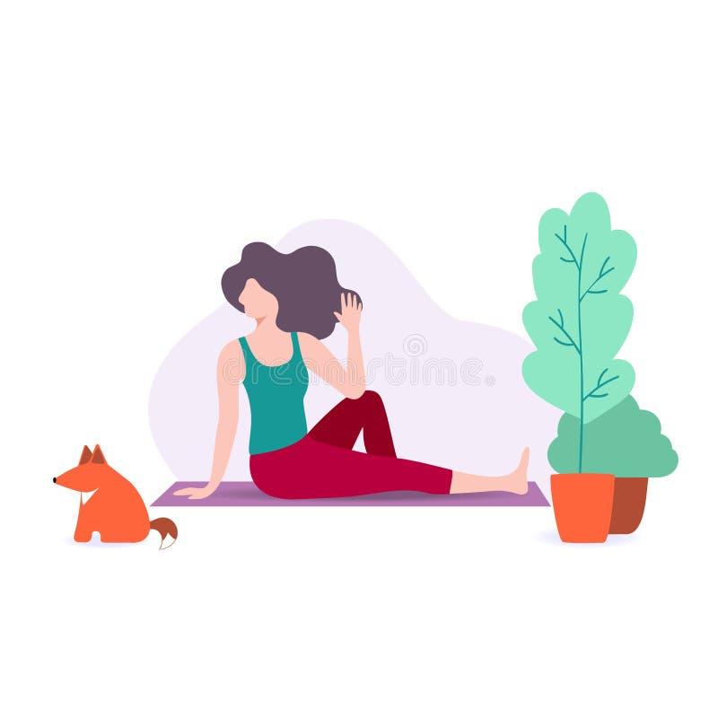 Vectorillustratie die van leuk meisje yoga doen thuis, jonge vrouw die oefening doen vector illustratie