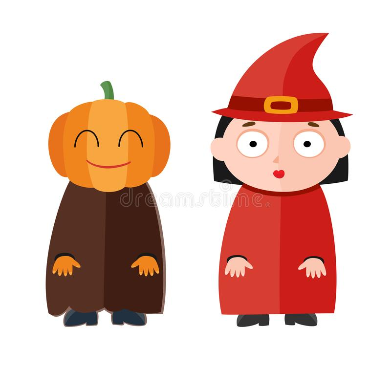 Vectorillustratie die van leuke jonge geitjes Halloween-kostuums dragen royalty-vrije illustratie
