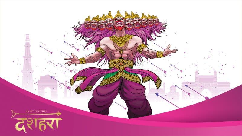 Vectorillustratie die van Lord Rama Ravana in Gelukkig de affichefestival van Dussehra Navratri doden van India vertaling: dusseh stock illustratie