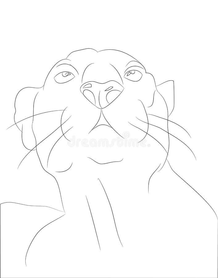 Vectorillustratie die van portretpanter, door lijnen trekken vector illustratie