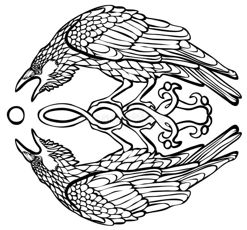 Vectorillustratie die van raaf zonbezinning vangen stock foto