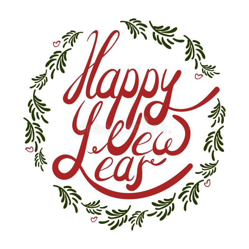 Vectorillustratie die van rood gelukkig nieuw jaar in een kader van letters voorzien stock afbeeldingen