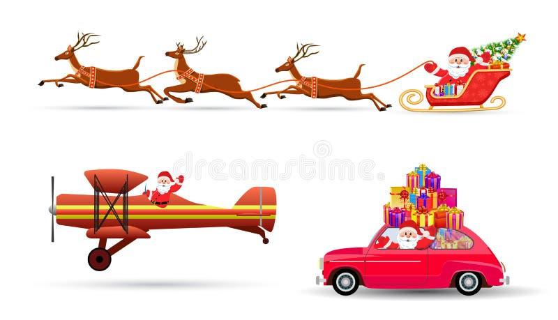 Vectorillustratie die van Santa Claus met herten vliegen royalty-vrije illustratie