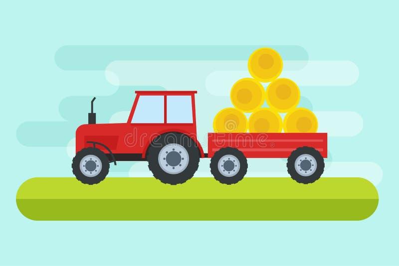 Vectorillustratie die van tractor aan bewerkt land in vlakke stijl werken Vector illustratie royalty-vrije illustratie