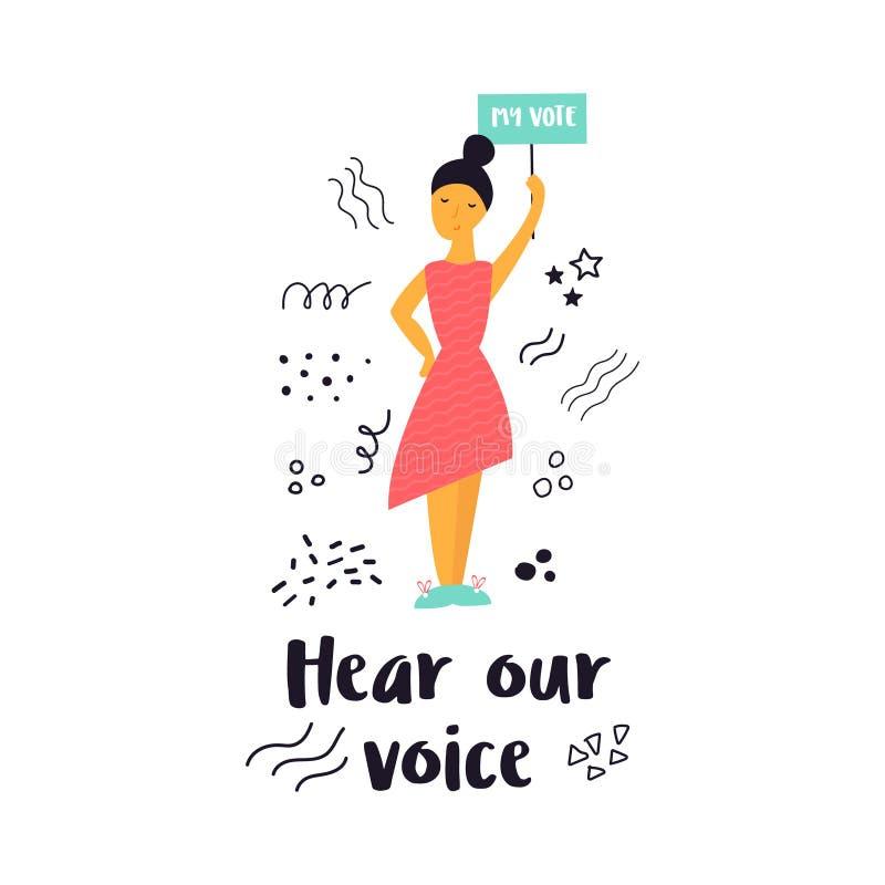 Vectorillustratie die van vrouw een banner houden vector illustratie