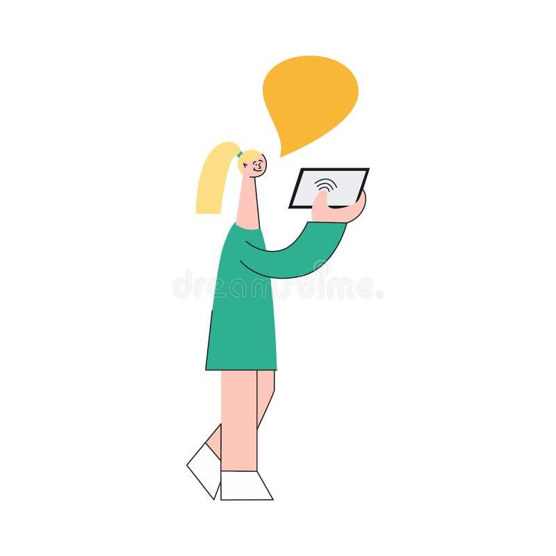 Vectorillustratie die van vrouw mobiel apparaat met draadloos netwerk houden en met iemand communiceren royalty-vrije illustratie