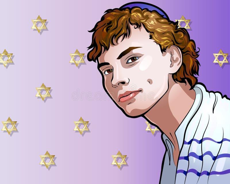 Vectorillustratie - een portret van de mooie Joodse jeugd stock illustratie