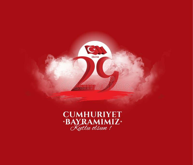 Vectorillustratie 29 ekim Cumhuriyet Bayrami stock afbeelding
