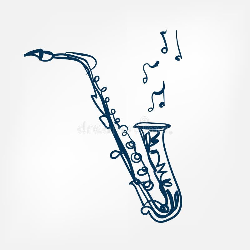Vectorillustratie geïsoleerd het ontwerpelement van de saxofoonschets vector illustratie