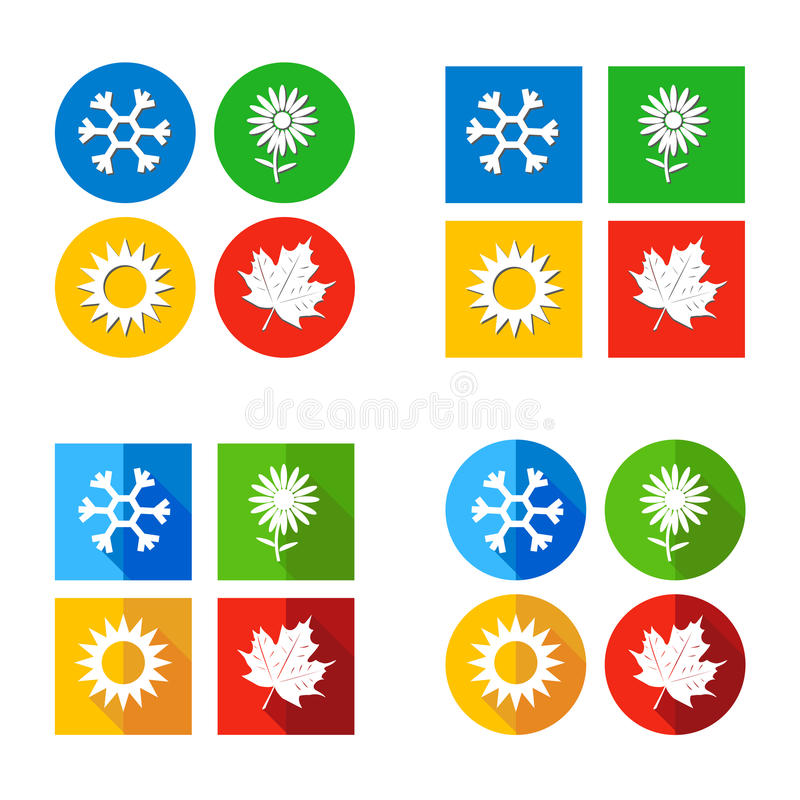 Vectorillustratie Geplaatst het Weer van het vier seizoenensymbool vector illustratie