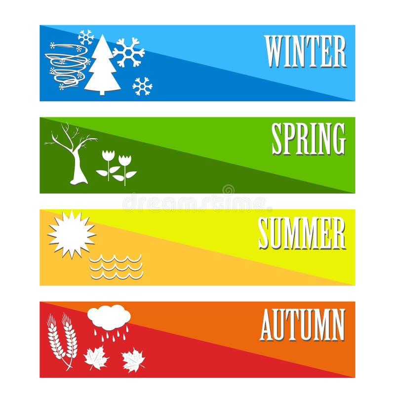 Vectorillustratie Geplaatst het Weer van het vier seizoenensymbool stock illustratie