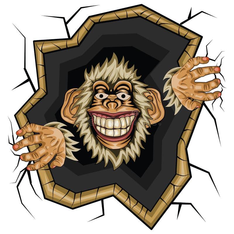 Vectorillustratie, grappige Aapchimpansee stock illustratie