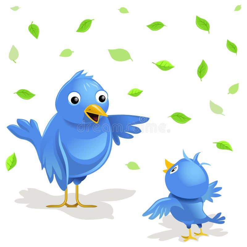 Vectorillustratie: grappige vogelsfamilie stock illustratie
