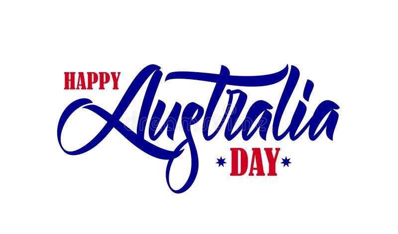 Vectorillustratie: Hand getrokken borsteltype het van letters voorzien samenstelling van de Gelukkige Dag van Australië op witte  stock illustratie