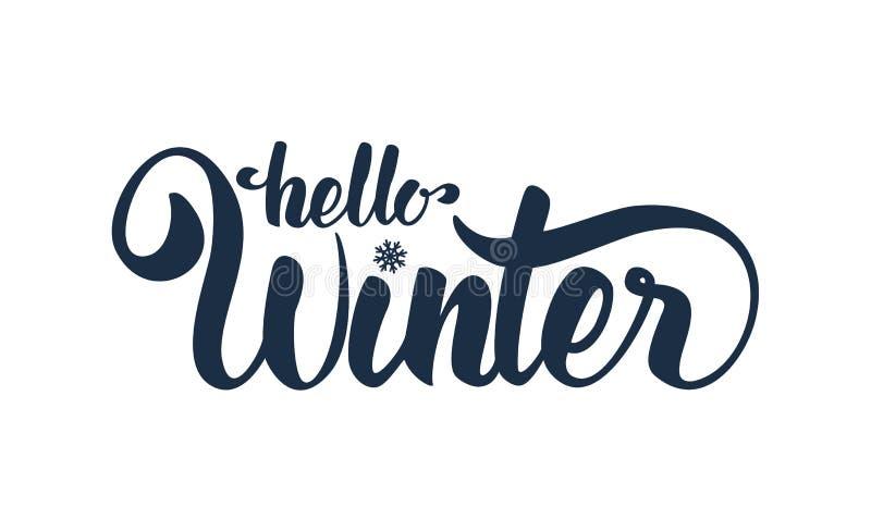 Vectorillustratie: Hello-de Winter het elegante moderne borstel van letters voorzien geïsoleerd op witte achtergrond stock illustratie