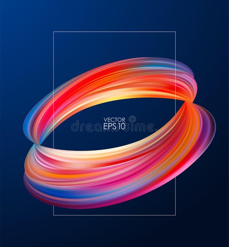 Vectorillustratie: Het afficheontwerp met 3d Samenvatting verdraaide vorm van vloeistof of borstelslag van verf royalty-vrije illustratie