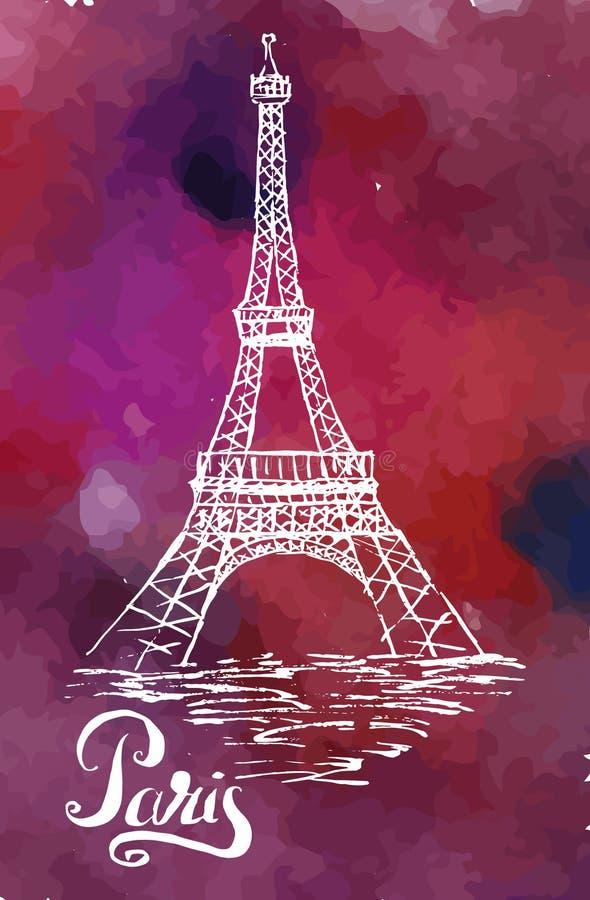 Vectorillustratie, het etiket van Parijs met de hand getrokken Toren van Eiffel vector illustratie