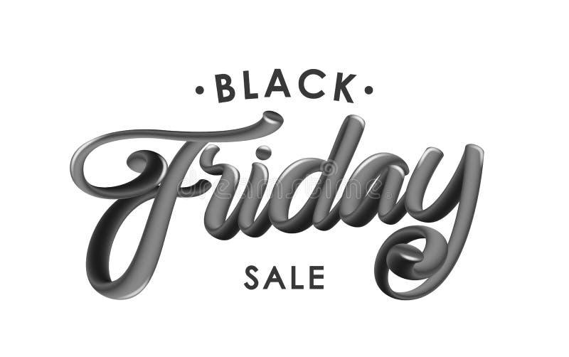 Vectorillustratie: Het met de hand geschreven 3D glanzende kalligrafische van letters voorzien van Black Friday-Verkoop op witte  vector illustratie