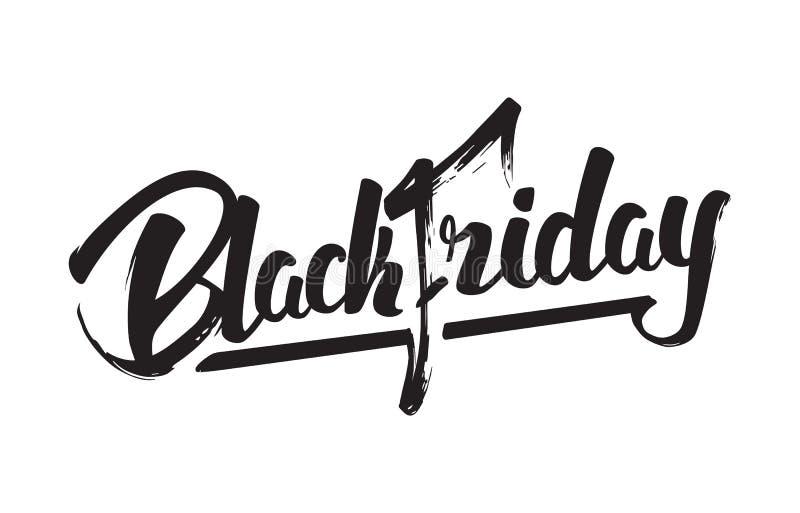 Vectorillustratie: Het met de hand geschreven moderne die borstel van letters voorzien van Black Friday op witte achtergrond word stock illustratie