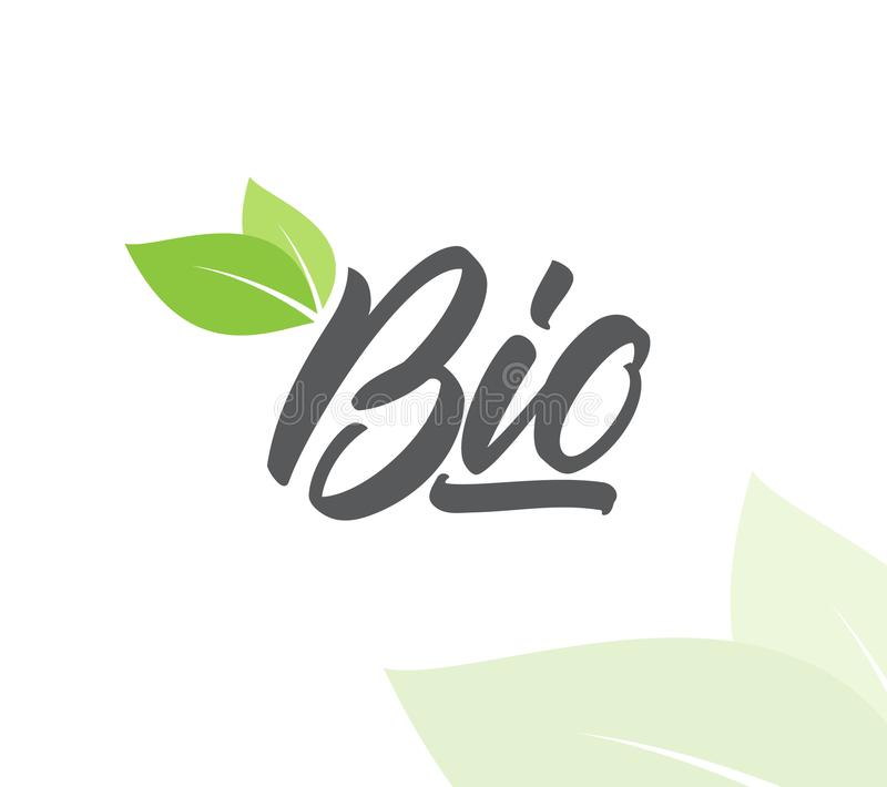 Vectorillustratie: Het met de hand geschreven type van letters voorzien van Bio met groene bladeren royalty-vrije illustratie