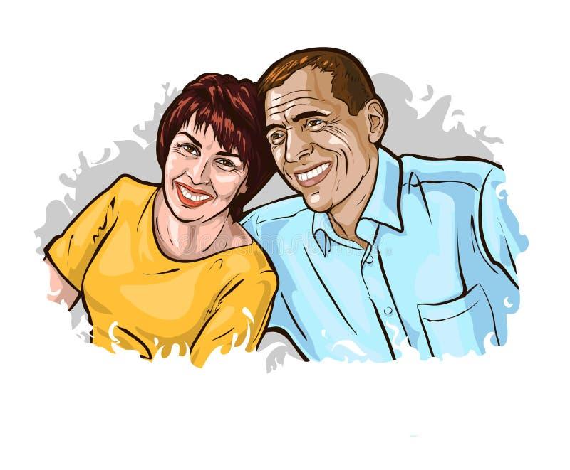 Vectorillustratie i een thema van familie, liefde, huwelijk, loyaliteit, wederzijds respect royalty-vrije illustratie