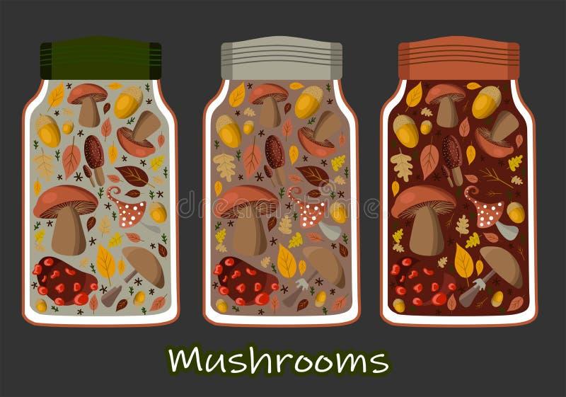 Vectorillustratie ingeblikte voedselreeks, inzameling Tomatensoep, kippensoep, schatten, gouden graan en paddestoelen Metaal Tin  royalty-vrije illustratie