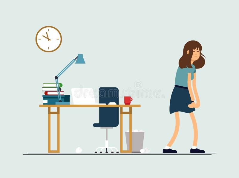 Vectorillustratie jonge vermoeide vrouw, slaperige stemming, zwakke gezondheid, uitgeput geestelijk Het vrouwelijke karakter van  royalty-vrije illustratie