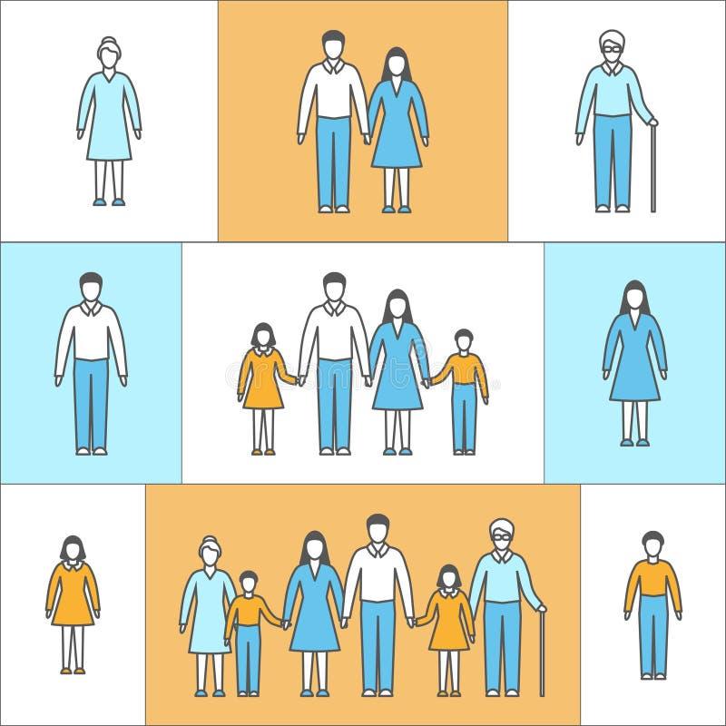 Vectorillustratie in lineaire stijl Vlakke pictogrammen met mensen royalty-vrije illustratie