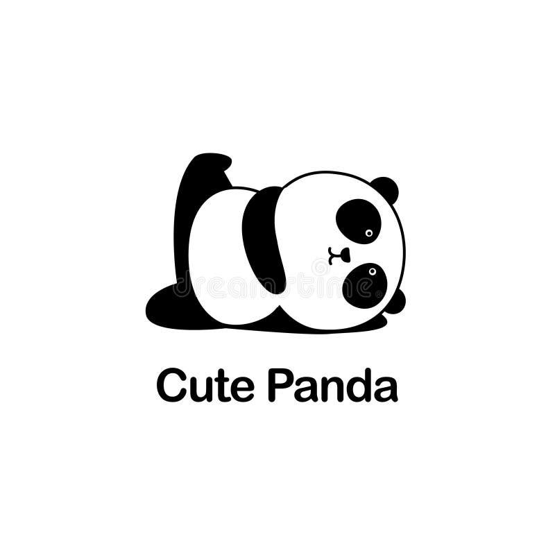 Vectorillustratie/Logo Design - de Leuke grappige reuzepanda van het babybeeldverhaal doet yoga, ligt en heft één been op stock illustratie