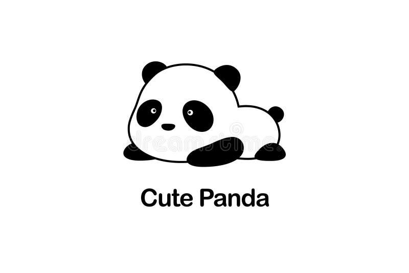 Vectorillustratie/Logo Design - het Leuke grappige vette babybeeldverhaal de reuzepanda/de panda draagt van China ligt ter plaats vector illustratie