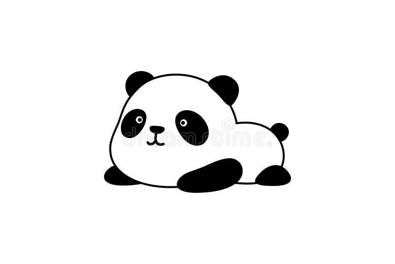 Vectorillustratie/Logo Design - het Leuke grappige vette babybeeldverhaal de reuzepanda/de panda draagt van China ligt ter plaats royalty-vrije illustratie