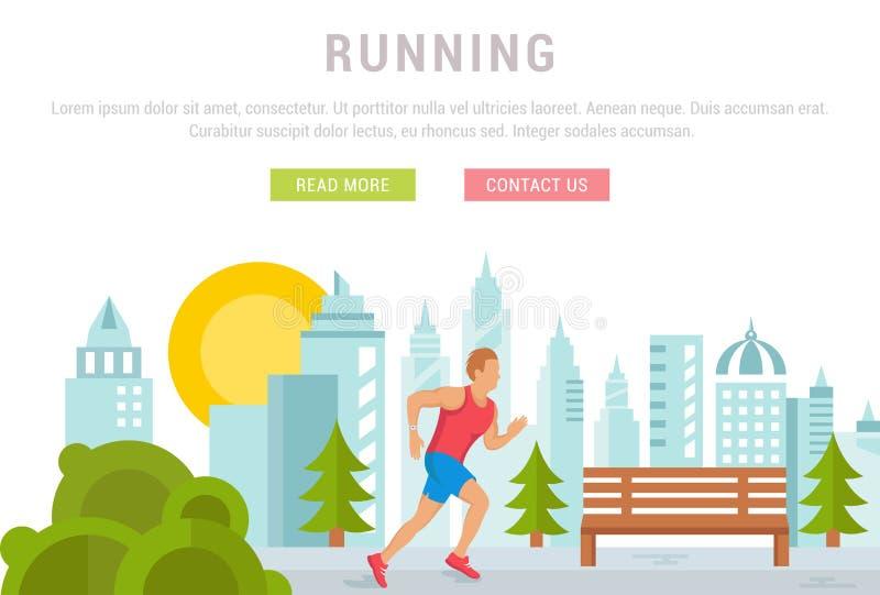 Vectorillustratie Lopende mens Malplaatje voor Website en Banner stock illustratie