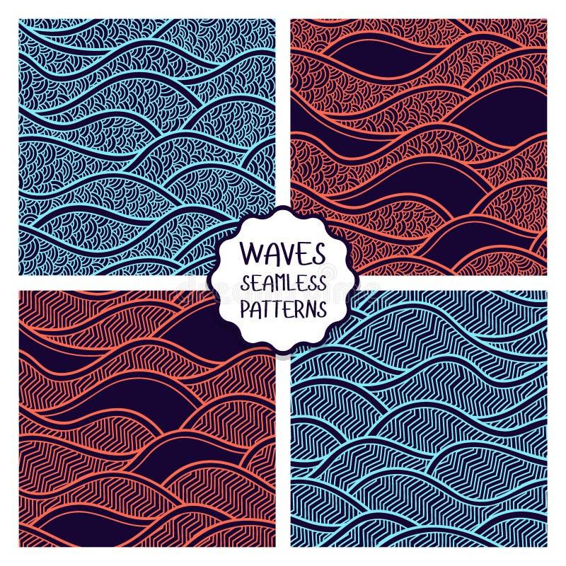 Vectorillustratie met abstracte golven of duinen Inzameling van geometrische ornamenten vector illustratie